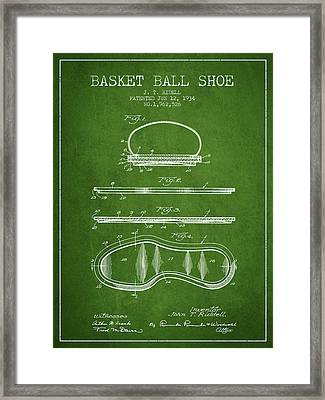 1934 Basket Ball Shoe Patent - Green Framed Print by Aged Pixel