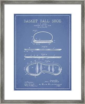 1934 Basket Ball Shoe Patent - Light Blue Framed Print by Aged Pixel