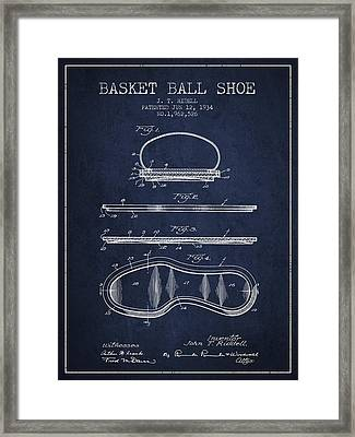 1934 Basket Ball Shoe Patent - Navy Blue Framed Print by Aged Pixel