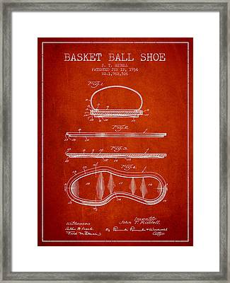 1934 Basket Ball Shoe Patent - Red Framed Print by Aged Pixel