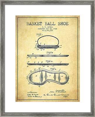 1934 Basket Ball Shoe Patent - Vintage Framed Print by Aged Pixel