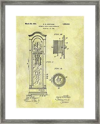 1934 Grandfather Clock Patent Framed Print by Dan Sproul