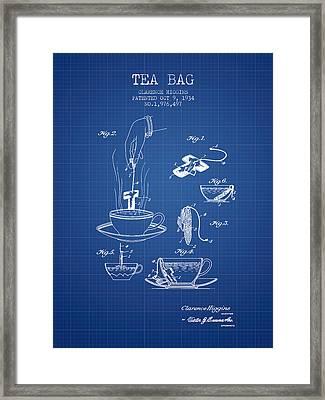1934 Tea Bag Patent - Blueprint Framed Print by Aged Pixel
