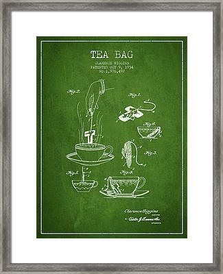 1934 Tea Bag Patent - Green Framed Print by Aged Pixel