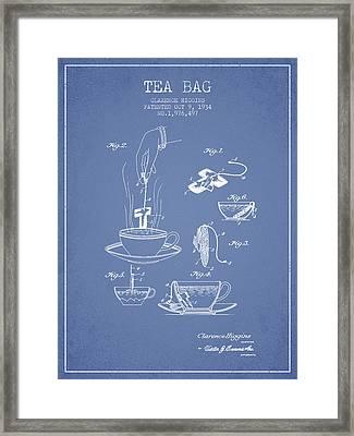 1934 Tea Bag Patent - Light Blue Framed Print by Aged Pixel