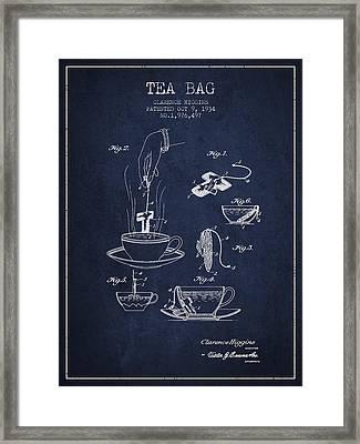 1934 Tea Bag Patent - Navy Blue Framed Print by Aged Pixel