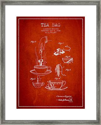 1934 Tea Bag Patent - Red Framed Print by Aged Pixel