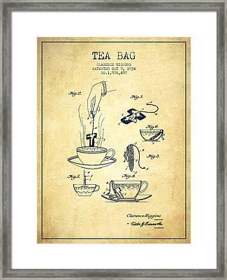 1934 Tea Bag Patent - Vintage Framed Print by Aged Pixel
