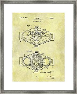 1935 Astronomical Watch Patent Framed Print by Dan Sproul