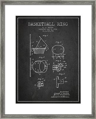 1936 Basketball Ring Patent - Charcoal Framed Print by Aged Pixel