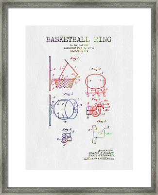 1936 Basketball Ring Patent - Color Framed Print by Aged Pixel