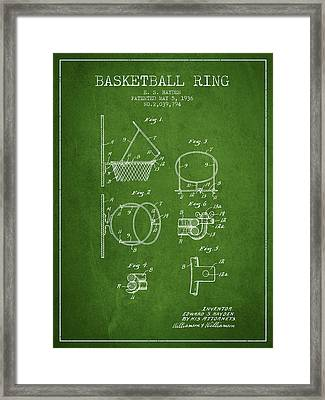 1936 Basketball Ring Patent - Green Framed Print by Aged Pixel
