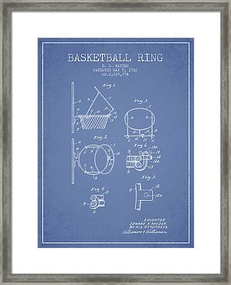 1936 Basketball Ring Patent - Light Blue Framed Print by Aged Pixel