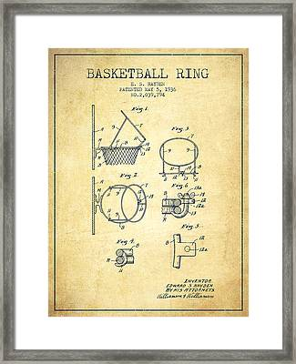 1936 Basketball Ring Patent - Vintage Framed Print by Aged Pixel