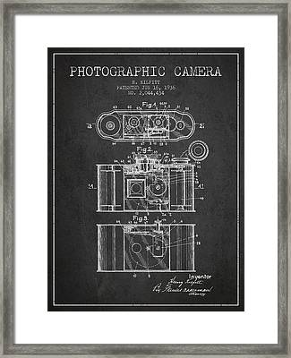 1936 Photographic Camera Patent - Charcoal Framed Print by Aged Pixel