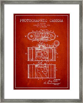1936 Photographic Camera Patent - Red Framed Print by Aged Pixel