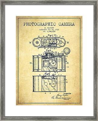 1936 Photographic Camera Patent - Vintage Framed Print by Aged Pixel