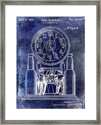 1937 Beer Clock Patent Blue Framed Print by Jon Neidert