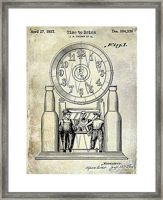 1937 Beer Clock Patent Framed Print by Jon Neidert