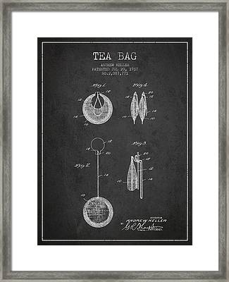 1937 Tea Bag Patent 02 - Charcoal Framed Print by Aged Pixel