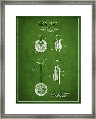 1937 Tea Bag Patent 02 - Green Framed Print by Aged Pixel