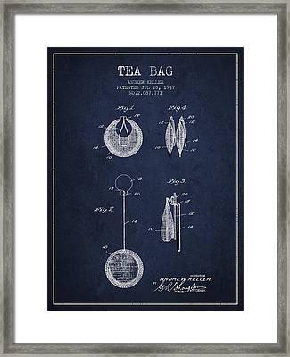 1937 Tea Bag Patent 02 - Navy Blue Framed Print by Aged Pixel