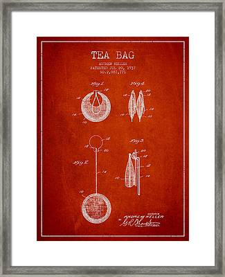 1937 Tea Bag Patent 02 - Red Framed Print by Aged Pixel