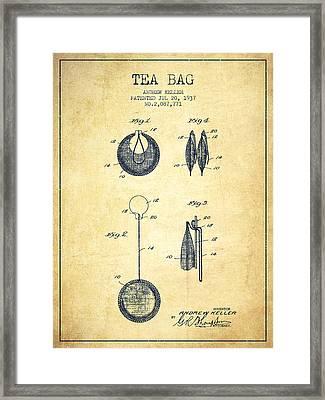 1937 Tea Bag Patent 02 - Vintage Framed Print by Aged Pixel