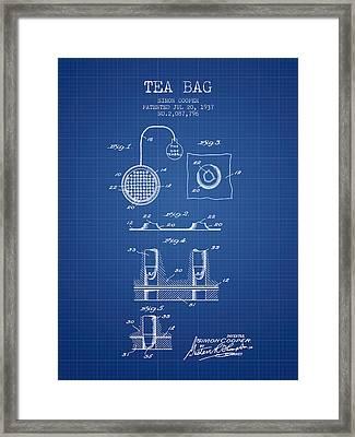1937 Tea Bag Patent - Blueprint Framed Print by Aged Pixel