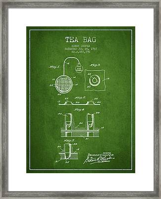 1937 Tea Bag Patent - Green Framed Print by Aged Pixel