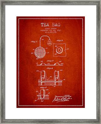 1937 Tea Bag Patent - Red Framed Print by Aged Pixel