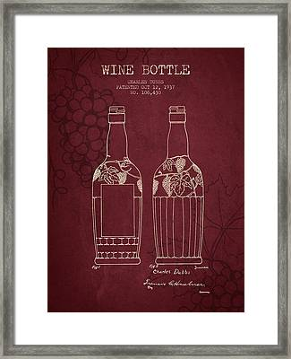 1937 Wine Bottle Patent - Red Wine Framed Print by Aged Pixel