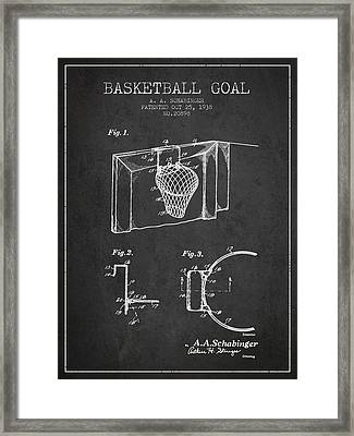 1938 Basketball Goal Patent - Charcoal Framed Print by Aged Pixel
