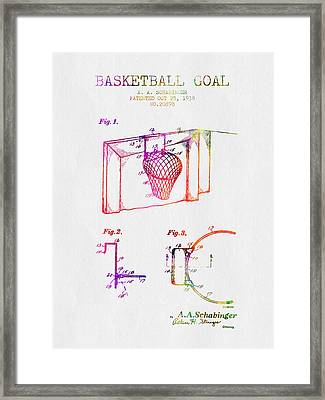 1938 Basketball Goal Patent - Color Framed Print by Aged Pixel