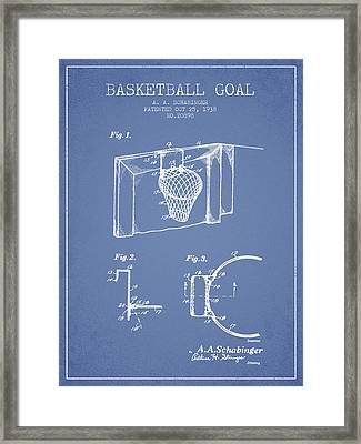 1938 Basketball Goal Patent - Light Blue Framed Print by Aged Pixel