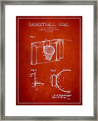 1938 Basketball Goal Patent - Red Framed Print by Aged Pixel