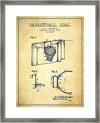 1938 Basketball Goal Patent - Vintage Framed Print by Aged Pixel