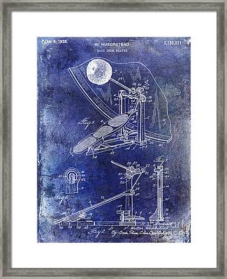 1938 Bass Drum Pedal Patent Blue Framed Print by Jon Neidert