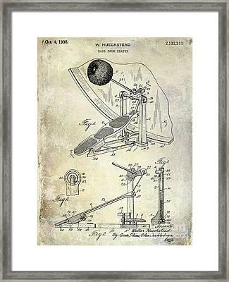 1938 Bass Drum Pedal Patent  Framed Print by Jon Neidert