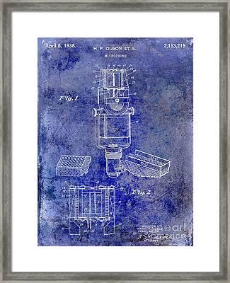 1938 Microphone Patent Drawing Blue Framed Print by Jon Neidert