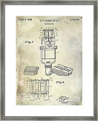 1938 Microphone Patent Drawing Framed Print by Jon Neidert