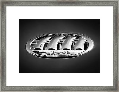 1938 Plymouth Sedan Emblem -0458bw Framed Print by Jill Reger