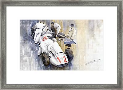 1939 German Gp Mb W154 Rudolf Caracciola Winner Framed Print by Yuriy  Shevchuk