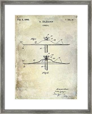 1940 Cymbal Patent  Framed Print by Jon Neidert