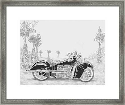 1940 Indian Four Motorcycle Art Print Framed Print by Stephen Rooks