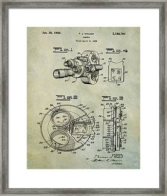 1940 Tj Walsh Film Camera Patent Framed Print by Digital Reproductions