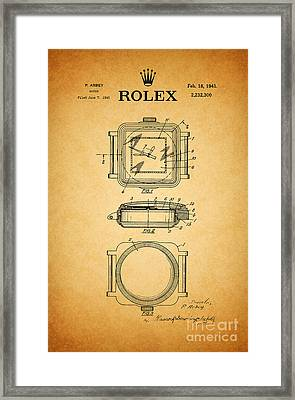 1941 Rolex Watch Patent 1 Framed Print by Nishanth Gopinathan