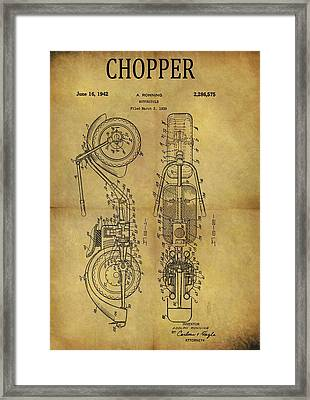 1942 Chopper Motorcycle Patent Framed Print by Dan Sproul