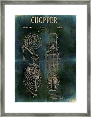 1942 Grunge Chopper Motorcycle Patent Framed Print by Dan Sproul