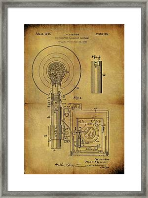 1943 Camera Flash Patent Framed Print by Dan Sproul